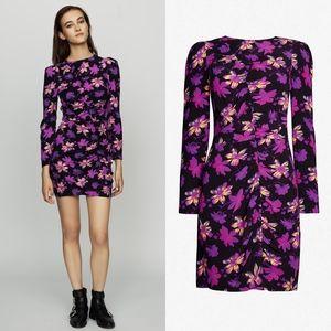 MAJE Rosamar Ruched Floral Mini Dress